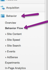 Overview of the behavior section of Google Analytics menu.