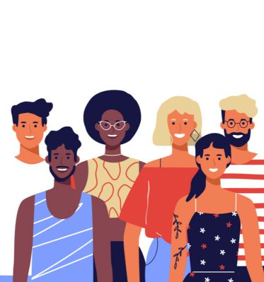 Vector image of a diverse group of young entrepreneurs as they embark on their brand building strategy.